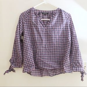 Madewell Plaid Open Neck Tie Sleeve Popover Top S